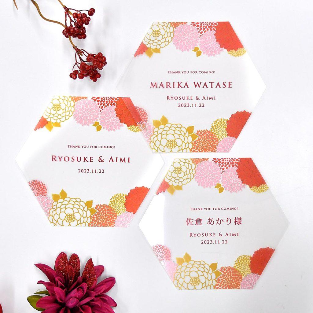 ダリアの花がクリア素材に映えるおしゃれなデザインのフェイスシールド