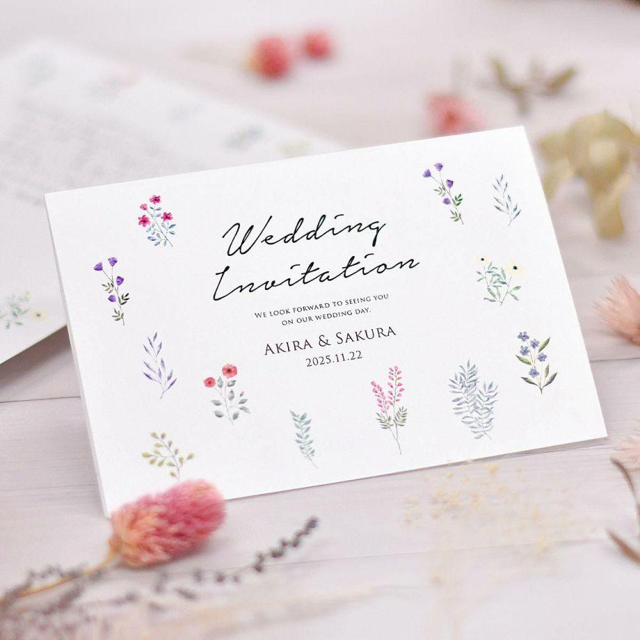 新商品情報「少人数家族のみ結婚式専用招待状 5部セット」